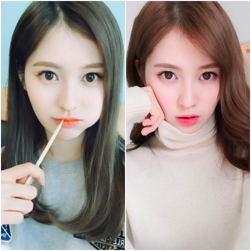 dos fotos de una chica coreana