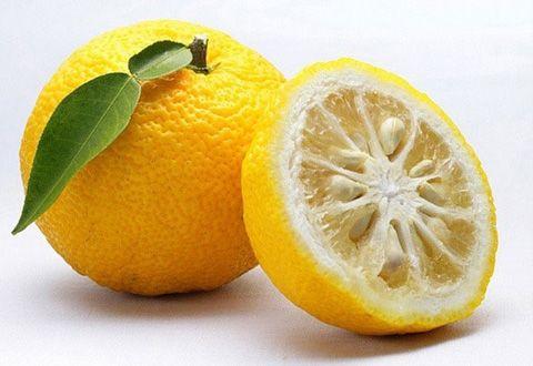 LA fruta Coreana Yucha entera y otra partido por la mitad