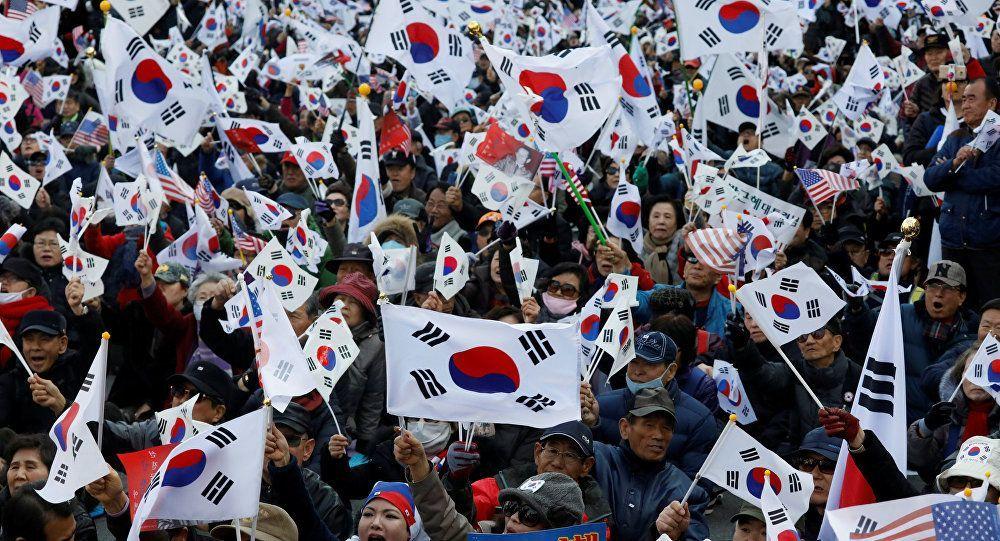 muchas banderas coreanas